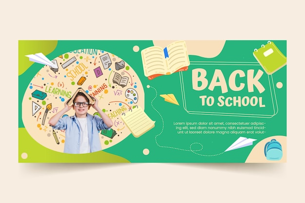 Cartoon back to school horizontal banner template with photo