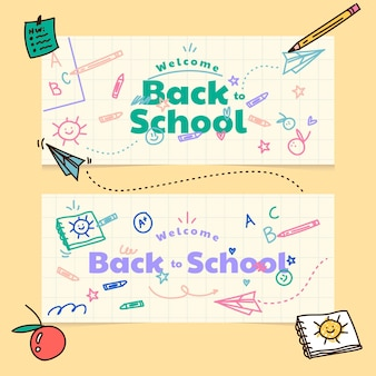Cartoon back to school horizontal banners set