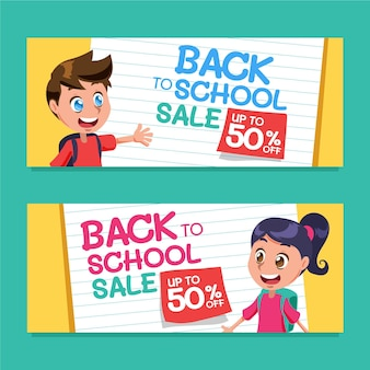 Cartoon back to school horizontal sale banners set