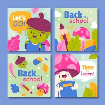 Raccolta di post di instagram di ritorno a scuola dei cartoni animati