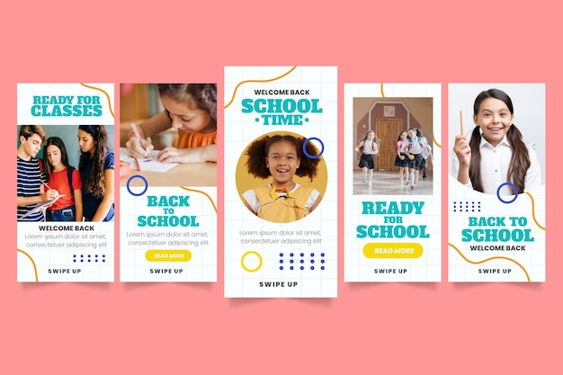 Cartoon back to school instagram stories collection with photo