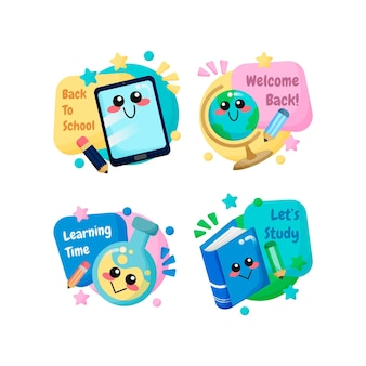 Cartoon back to school labels collection