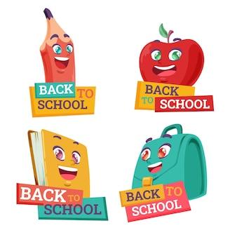 Collezione di etichette per il ritorno a scuola dei cartoni animati