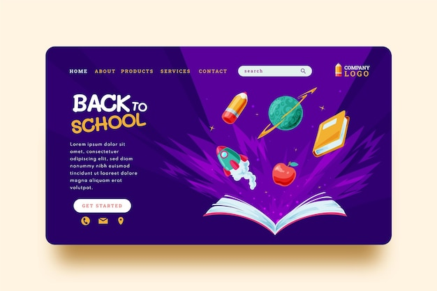 Cartoon back to school landing page template