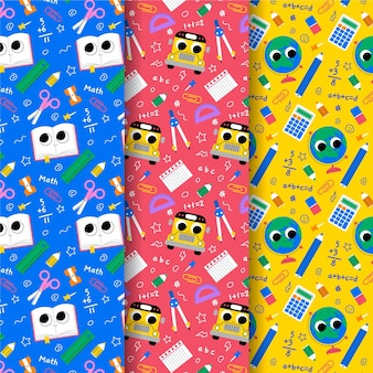 Cartoon back to school pattern collection