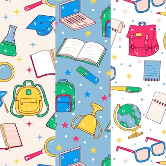 Cartoon back to school patterns collection