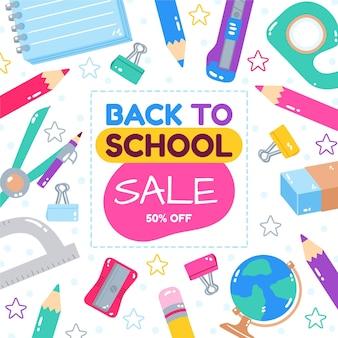 Cartoon back to school sale background