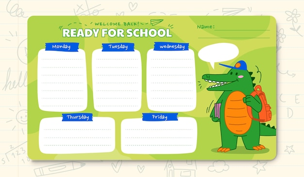 Cartoon back to school timetable template