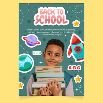 Cartoon back to school vertical poster template with photo