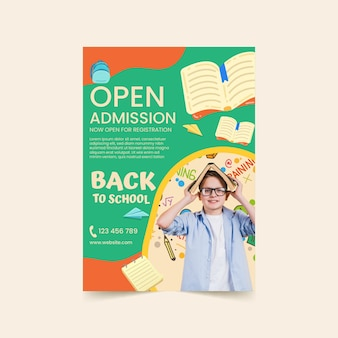 Cartone animato modello di poster verticale di ritorno a scuola con foto