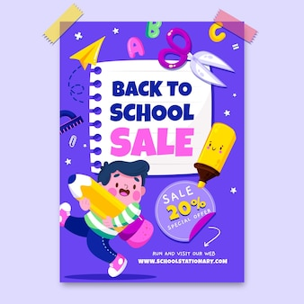Cartoon back to school vertical sale flyer template