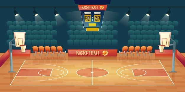 Cartoon background of empty basketball court. interior of sports arena with spotlights