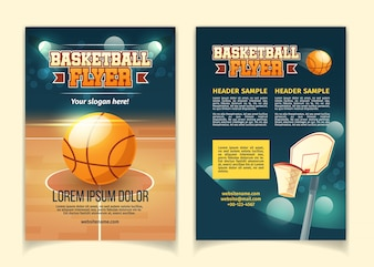 Cartoon background, flyers to invite on basketball game.