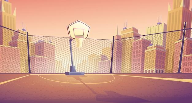 도시에서 농구 코트의 만화 배경입니다. 게임 바구니가있는 야외 스포츠 경기장.
