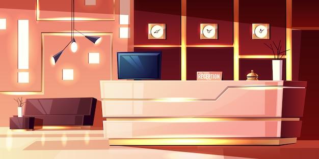 호텔 리셉션, 아늑한 로비의 만화 배경입니다. 현대 책상, 빈 홀의 조명.