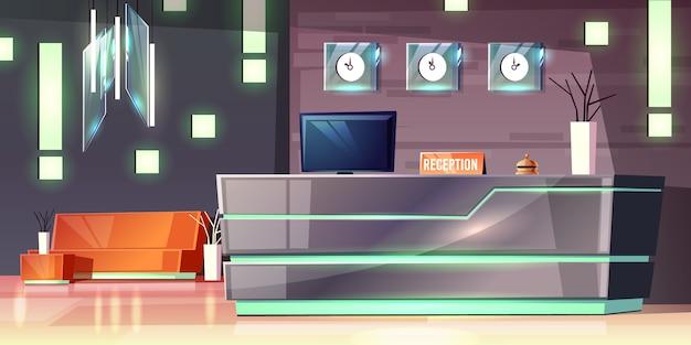 Мультфильм фон приемной отеля, фойе. современный письменный стол, подсветка пустого зала.