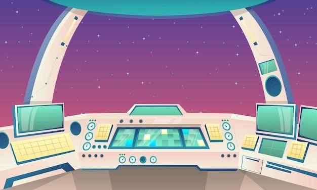 Cartoon background of rocket inside illustration