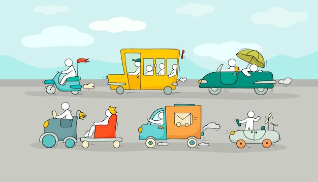 다른 교통 수단으로 만화 배경입니다. 버스, 자동차와 함께 도시 교통의 낙서 이미지. 어린이 디자인을 위한 귀여운 사람들과 함께 밝은 그림.