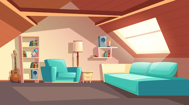 Cartoon background with empty garret room, modern loft apartment under wooden roof