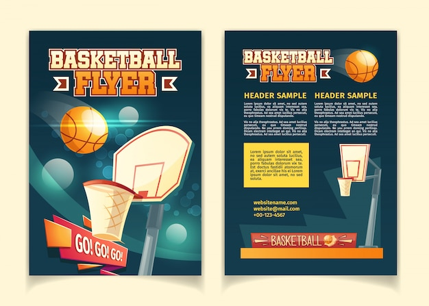 Cartoon background with flyers to invite on basketball game.