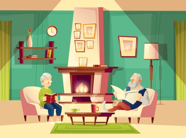 Cartoon background with old man and woman, who sit in armchairs near fireplace