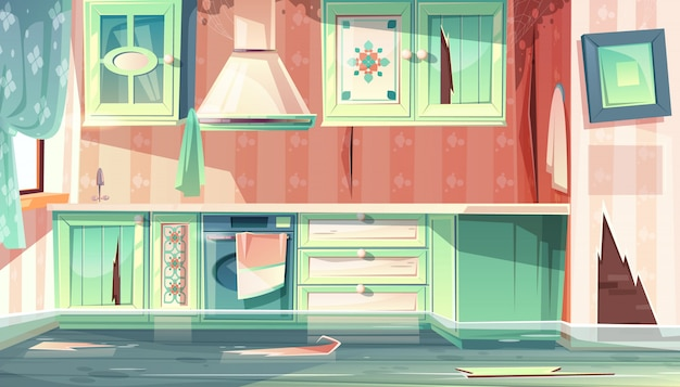 Cartoon background with provence room, the flood in dirty kitchen.