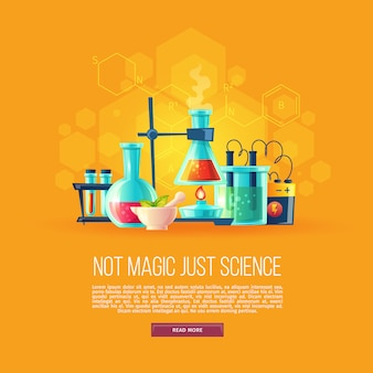 Cartoon background with set of chemical equipment for experiments