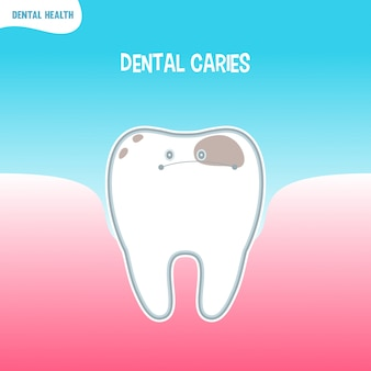 Cartoon bad tooth icon with dental caries