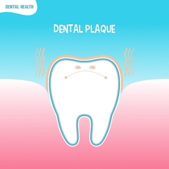 Cartoon bad tooth icon with dental plaque