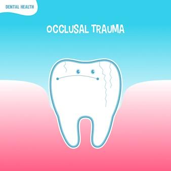 Cartoon bad tooth icon with occlusal trauma