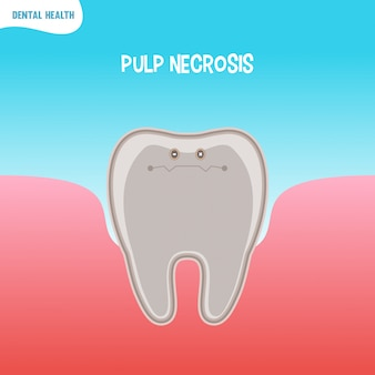 Cartoon bad tooth icon with pupl necrosis