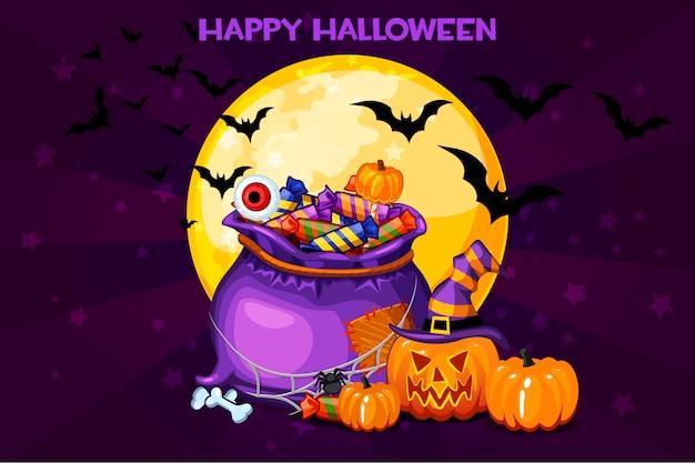 Cartoon bag with candy, illustration happy halloween
