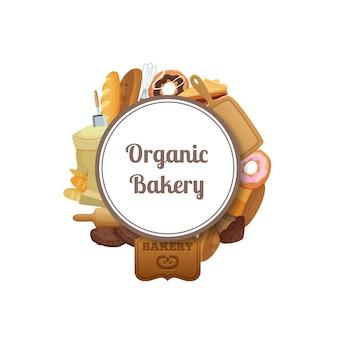Cartoon bakery under circle w