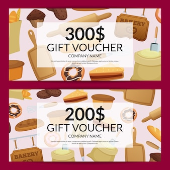 Cartoon bakery discount or gift illustration