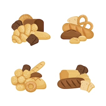 Cartoon bakery elements piles set isolated on white background