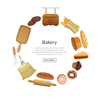 Cartoon bakery elements stickers of set