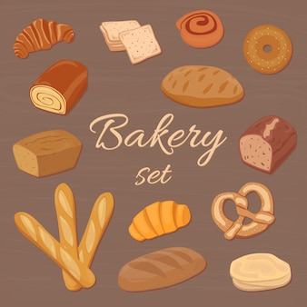 Cartoon bakery items vector set, colored different pastry elements.