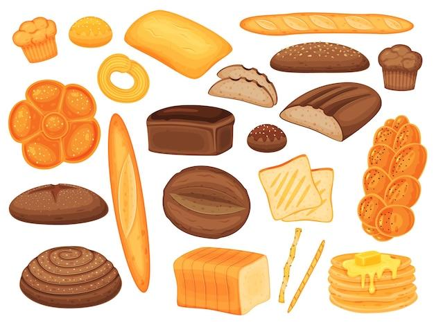 漫画のベーカリー製品、パン、パン、ペストリー。バゲット、マフィン、パンケーキ、全粒粉パン、自家製のおいしいペストリーベクトルセット
