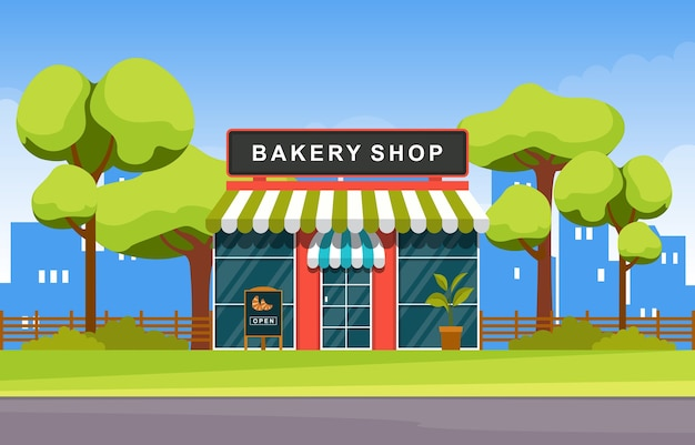 Мультяшный пекарня фасад магазина иллюстрация