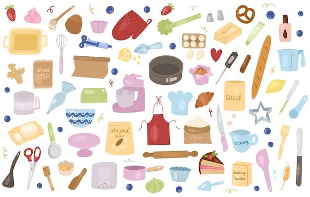 Инструменты и ингредиенты для выпечки шаржа: миксер, венчик, яйца, мука, разрыхлитель, скалка и т. д. подготовьте ингредиенты для приготовления пищи. векторные рисованной иллюстрации шаржа.