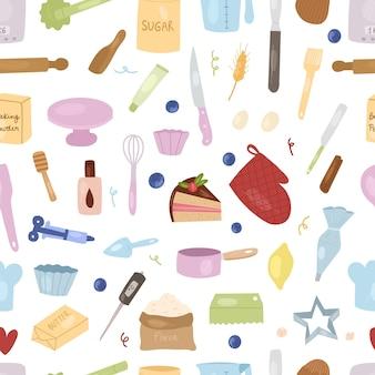 Мультфильм инструменты для выпечки и ингредиенты бесшовные модели: миксер, венчик, яйца, мука, разрыхлитель, скалка и т. д. подготовьте ингредиенты для приготовления пищи. векторные рисованной иллюстрации шаржа.