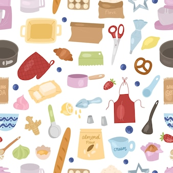 Cartoon baking tools and ingredients seamless pattern: mixer, whisk, eggs, flour, baking powder, rolling pin etc. prepare cooking ingredients.vector hand drawn cartoon illustration.