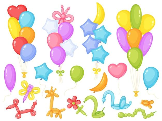 만화 풍선 휴일 기념일 또는 생일 파티 장식 벡터 세트
