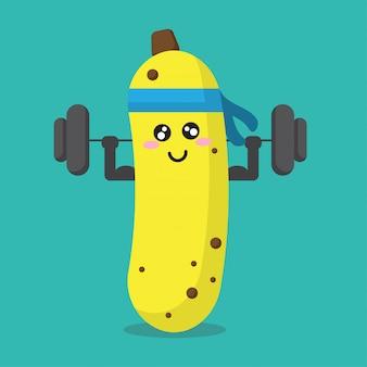 Cartoon banana health strong background