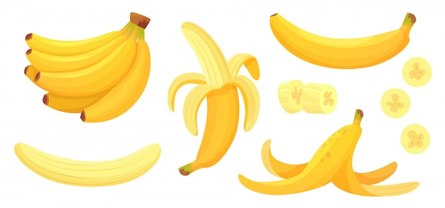Cartoon bananas. peel banana, yellow fruit and bunch of bananas isolated   illustration set