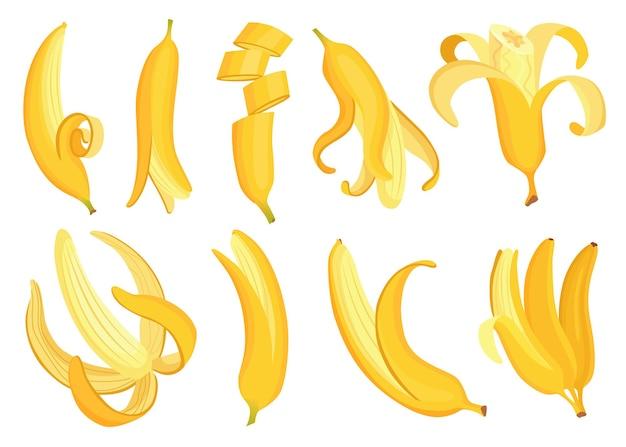 漫画のバナナ。トロピカルフルーツ、バナナスナックまたはベジタリアン栄養。果物と熟した甘い食べ物。さまざまな側面のバナナフルーツのベクトルセット。黄色の漫画シングル皮とバナナの束。