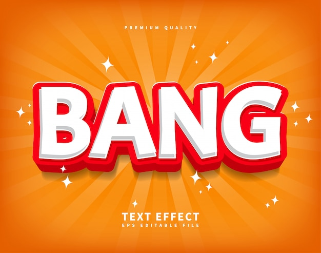Cartoon bang text effect in game style, shine sun burst