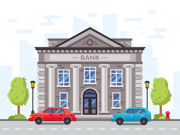 Cartoon bank or government building, courthouse with roman columns. money loan house in cityscape with cars on street vector illustration