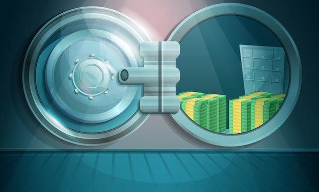 Cartoon bank vault with money, illustration