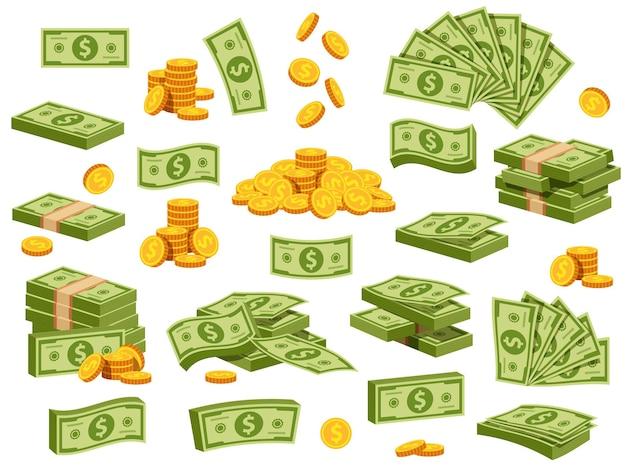 만화 지폐와 동전입니다. 녹색 달러 지폐 팩, 번들, 스택 및 더미. 날아다니는 지폐와 떨어지는 금화. 은행 현금 벡터 집합입니다. 현금 달러, 돈 금융의 그림 스택 더미